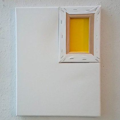 Window, acrylic and frame on cut canvas, 35x27 cm / 2020