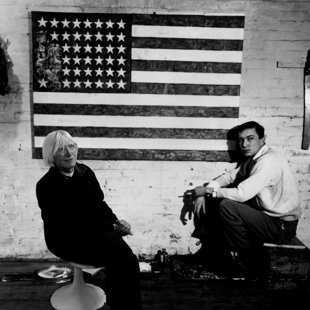 In Jasper Johns studio  with Flag, 1955, NY