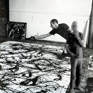 In Jackson's studio in Long Island 1950